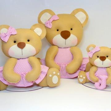Ursinhas para Nicho Trio Rosa com Poá Marrom