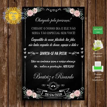 Placa de Boas Vindas para Casamento
