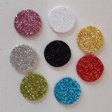 Aplique de circulo P em EVA glitter (pacote com 100)