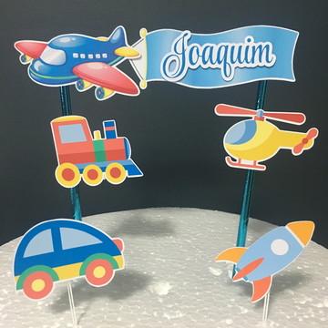 Topo de bolo 3D - Transporte Infantil