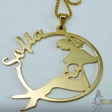 Mandala/Medalha Mamãe Gravida com Nome - Banhado a Ouro 18K