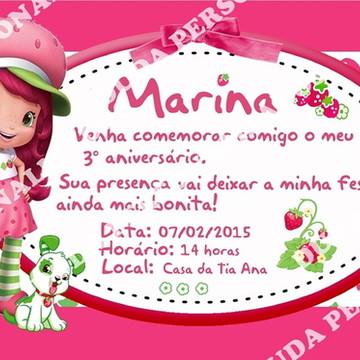 Convite para festa infantil Moranguinho