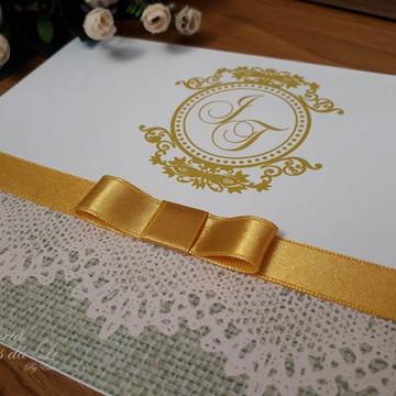 Convite Casamento Rustico Dourado