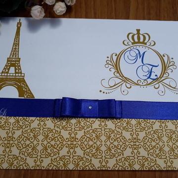 Convite 15 anos Paris Dourado com Azul