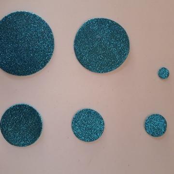 Apliques de circulos variados em EVA com glitter (50 und)