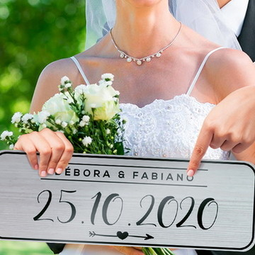 Casamento Placa de Carro Personalizada