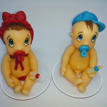 Topo de bolo Bebês Gêmeos para chá de bebê