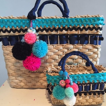 Kit customizado bolsas de palha tal mãe tal filha boho chic