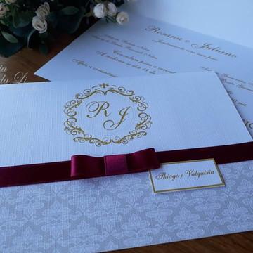 Convite Casamento Marsala com Dourado