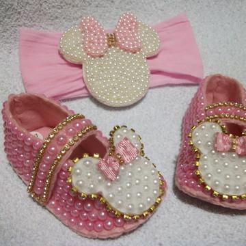 Sapatinho de bebe com pérola + Faixa Minnie -Festa da Minnie