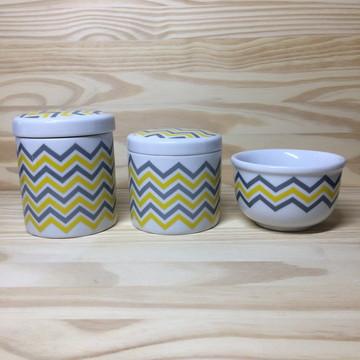 Kit Higiene Chevron Amarelo + Brinde