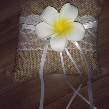 Almofada Porta Alianças Casamento Campo Sitio Rústico Flores