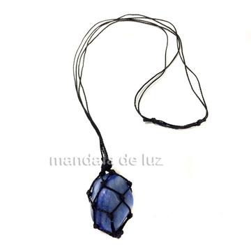 Colar de Pedra Castroada de Quartzo Azul - 997
