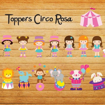 Toppers circo rosa