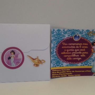 Convite impresso Princesa Jasmine