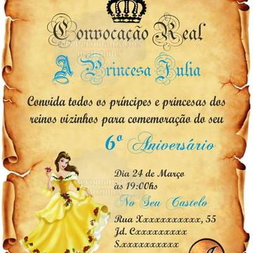 Convite Digital Pergaminho Princesa Bela