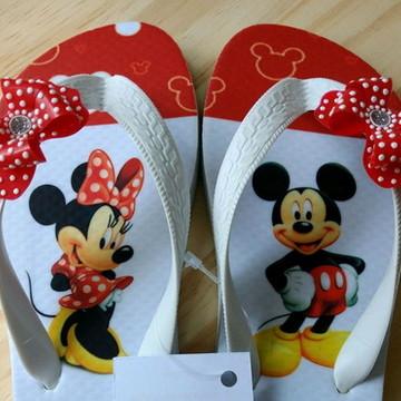 Chinelo Infanto Juvenil Mickey e Minnie Tira decorada
