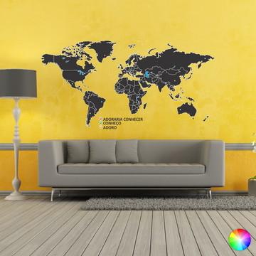 Adesivo Decorativo Mapa Mundi Com Pins