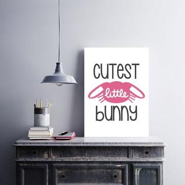 """Placa decorativa MDF """"Cutest Little Bunny"""""""