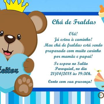 Convite Chá de Fralda ou Bebê Ursinho Príncipe DIGITAL