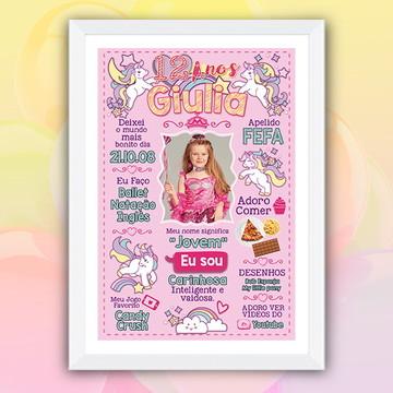 Poster Lousa Unicórnio Rosa
