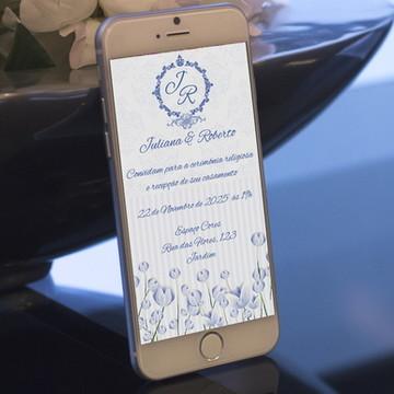 Convite Digital Casamento Azul - PROMOÇÂO