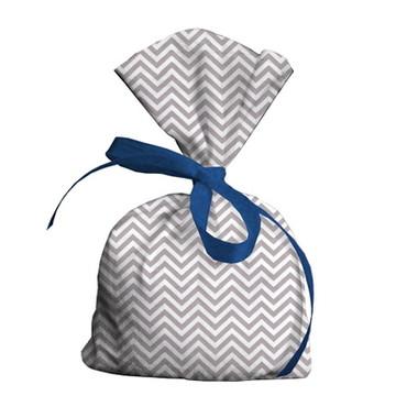 Lembrancinha Maternidade Chevron Cinza Detalhe Azul Escuro