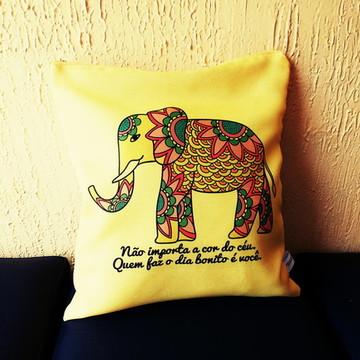Almofada Indiana Elefante Hippie Frases Otimista Buda