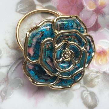 Porta Guardanapo RR - Flor Azul e Dourada - Casamento