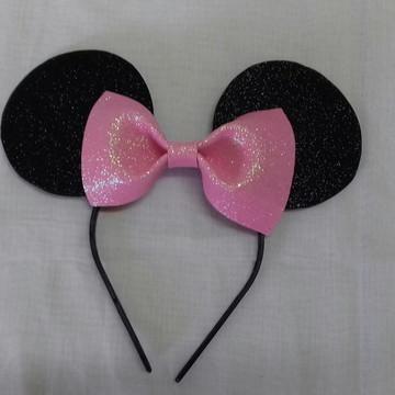Tiara Da Minnie - Laço Rosa com glitter