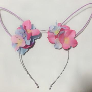Tiara de Orelhas de Coelho com flores - super leve