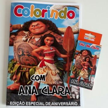 Revista de colorir e Giz de cera Moana