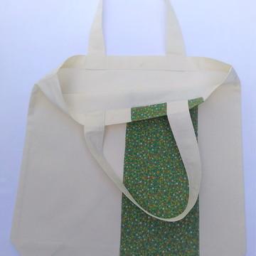 Ecobag em algodão cru decorada com tricolina estampada