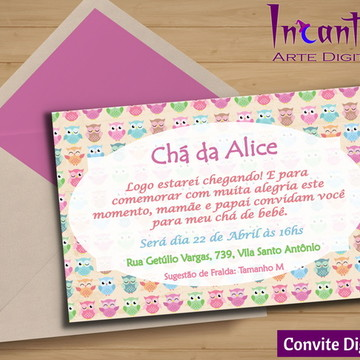 Convite Digital Chá de Bebê Corujinha 01