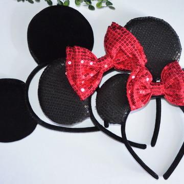 *2 Orelhas Paetê vermelha luxo Minnie)( 1Orelha Michey luxo