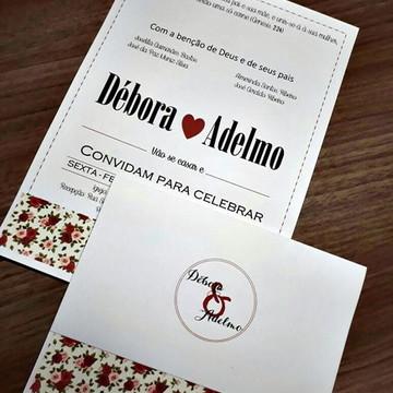 Convite de Casamento Barato Vermelho