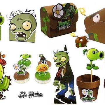 Kit Digital Arquivo de Corte Silhouette Plants vs Zombies