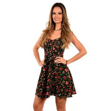 Vestido alcinha - cerejas preto