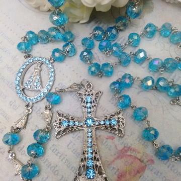 Terço de Noiva em Cristal Azul Serenity