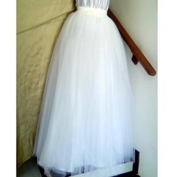 Saia Branca Luxo Noiva Em Tule Francês Forro Cetim