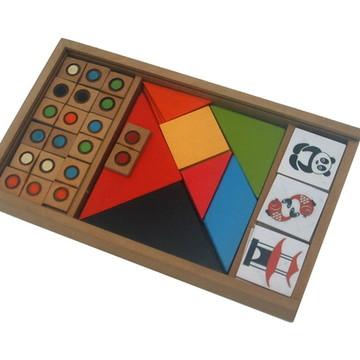 Kit de jogos - Dominó de cores 4 Tangrans e jogo da Memória