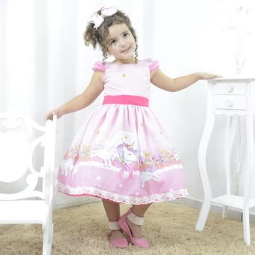 4331f3154af Vestido de Festa Infantil Unicornio Luxo Cor Rosa