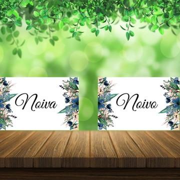 Placas Cadeiras Noivos Floral - Com Fitas Brancas