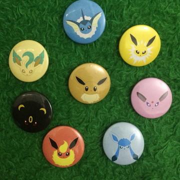 Kit 8 bottons Pokémon Evoluções Eevee