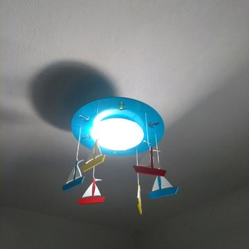 luminária lustre infantil barquinhos de marinheiro
