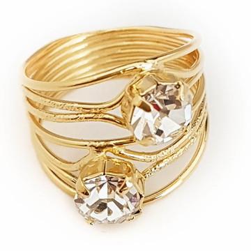 Anel feminino Anarosa zircônia brilhante folheado ouro 18k