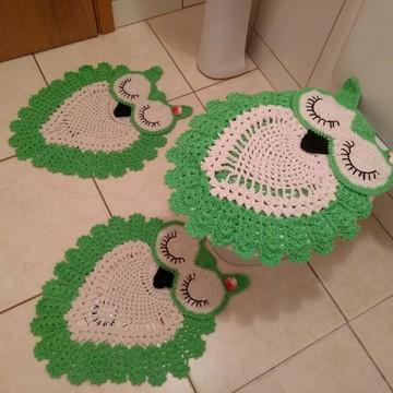 Jogo de banheiro em crochê Corujinhas 3 peças