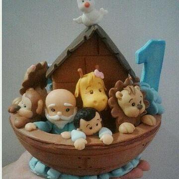 Topo Arca de Noé em Biscuit