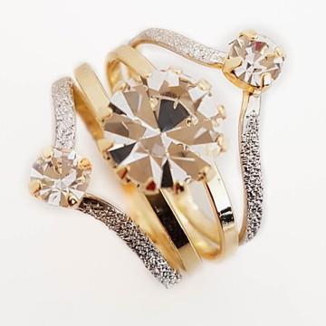 Anel Feminino Diamante Ródio Brilhante Folheado A Ouro 18k