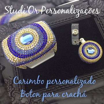 Carimbo Luxo Personalizado + Bóton crachá